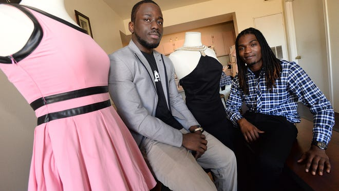 Reuben Ajayi (left) and LaDarrius Bush owners of Balze Clothiers work out of their apartments at University Court by LSUS where they study. The two entrepreneurs are trying to start their own fashion line.