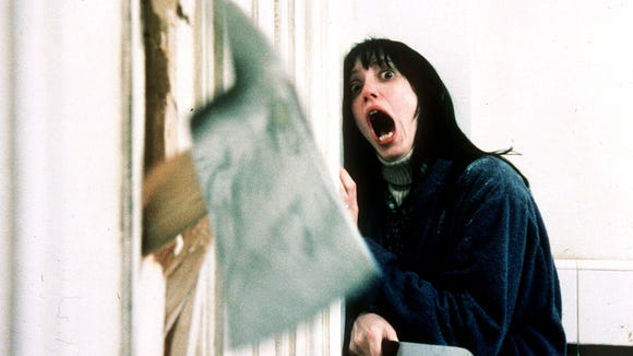 "Wendy Torrance (Shelley Duvall) tries to avoid her insane husband in ""The Shining."""