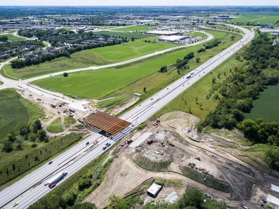 A drone view of the 100th Street bridge construction