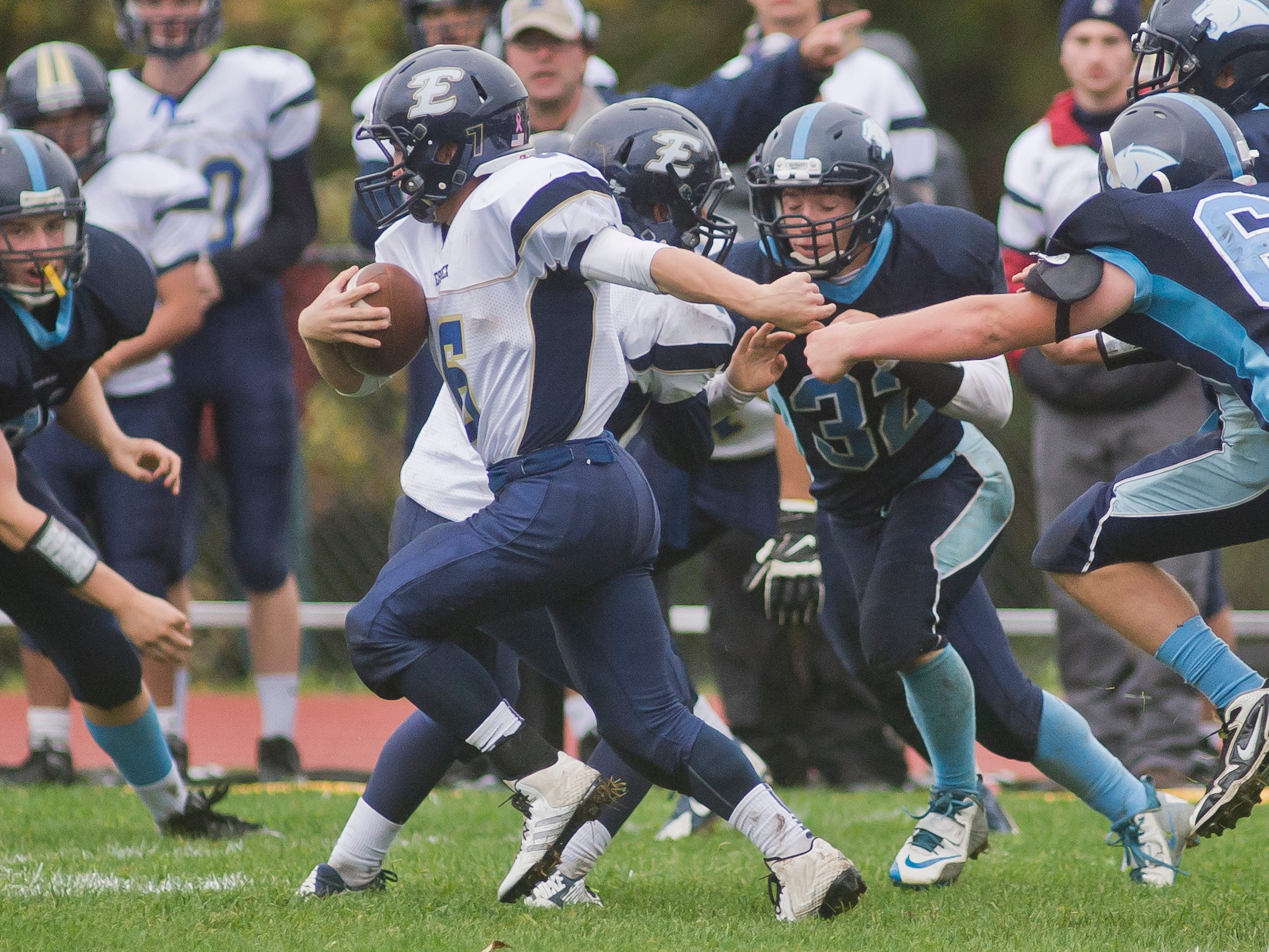 Essex High School's #6 Cody Greene breaks free of the MMU defense, converting his run to a touchdown in the first half of their game in Jericho Saturday.