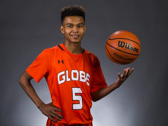 "Globe sophomore guard Robert ""BJ"" Burries is a finalist"