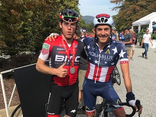 Brent Bookwalter, left, of Asheville, and Larry Warbusse, reigning U.S. National Road Race champion, will ride in the Bookwalter Binge Gran Fondo Oct. 28.