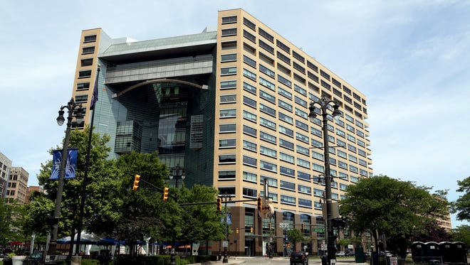 A look at the Compuware Building in downtown Detroit as seen from Campus Martius on Saturday, July 5, 2014.