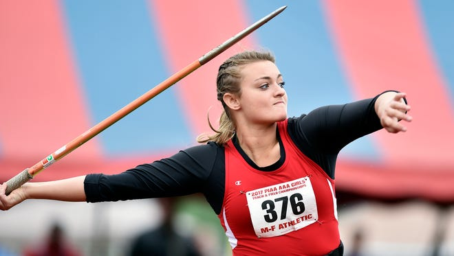 New Oxford's Madi Smith competes in the Class 3A javelin throw preliminary in the PIAA track and field meet Saturday, May 27, 2017, at Shippensburg University.