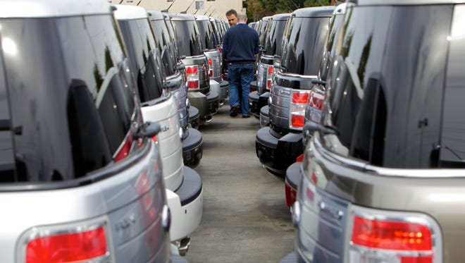 New cars parked at the Galpin Motors in Los Angeles, the largest Ford retailer in the U.S.