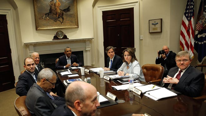 President Obama conducts national security meeting in the Roosevelt Room.