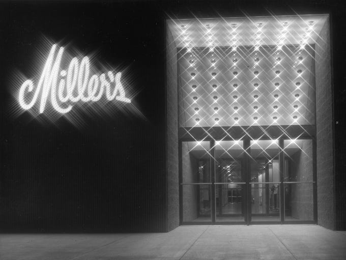 The entrance to Miller's Department Store at West Town