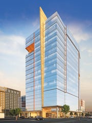 A rendering of the WestStar Tower at Hunt Plaza to