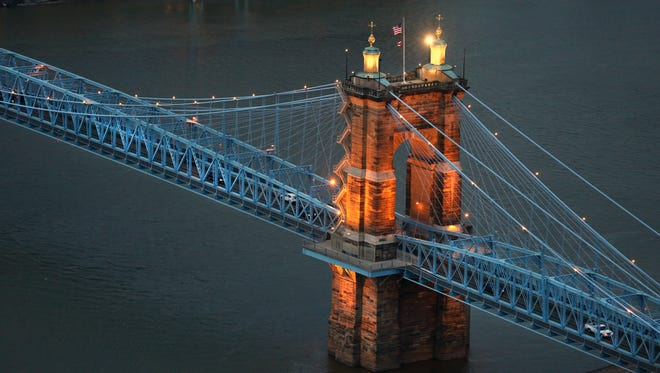The John A. Roebling Suspension Bridge goes between Covington and Cincinnati and was completed in December of 1866.