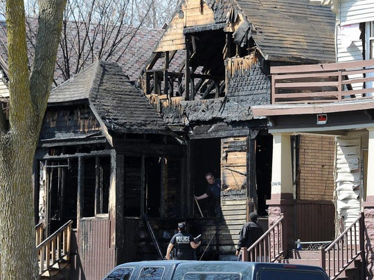 The scene of an arson fire April 17, 2015, that left