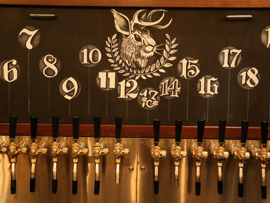 The taps, 24 in all, at Unter Biergarten, a German-style
