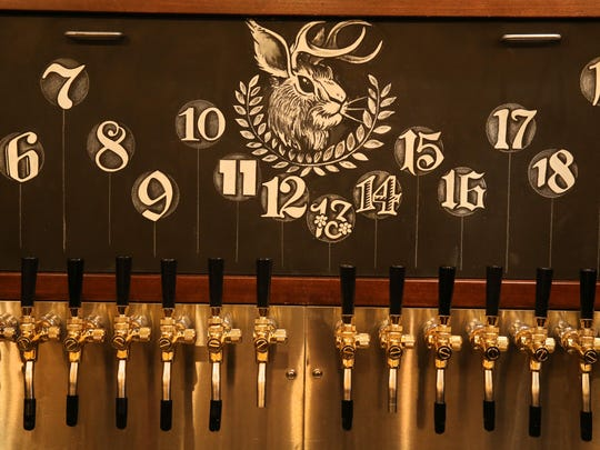 The taps, 24 in all, at Unter Biergarten, a German-style beer hall at 120 East Ave. (in the space that formerly housed Victoire) Tuesday, Feb. 13, 2018 in Rochester.