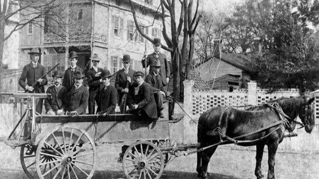 Armed members of the Wilmington Light Infantry on Nov. 10, 1898.