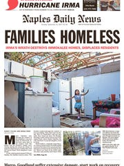 Front page of the Naples Daily News on Sept. 12, 2017.