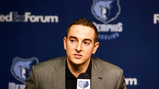 August 1, 2014 - Grizzlies majority owner Robert Pera addresses members of the media during a press conference announcing new members of the coaching and operations staff inside FedExForum. (William DeShazer/The Commercial Appeal)