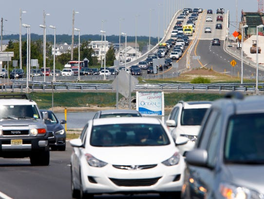 Traffic was backed up Monday, July 3, 2017, on Route