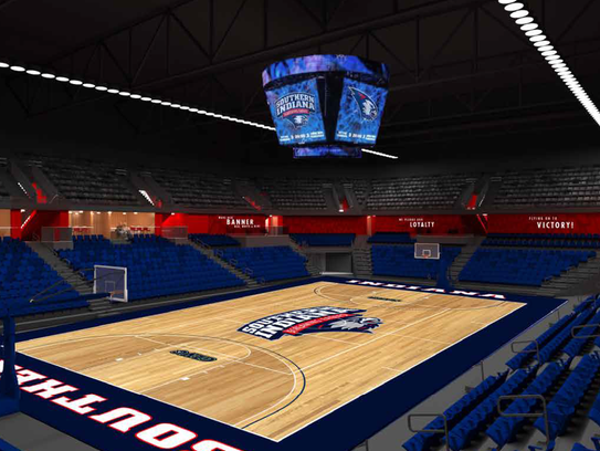Inside rendering of the new USI PAC arena.
