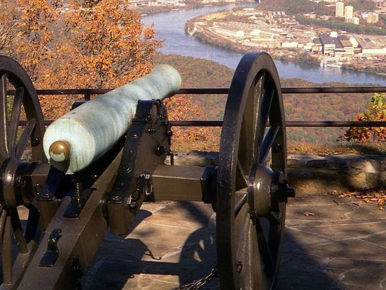 A Chickamauga Battlefield cannon near the Tennessee River.