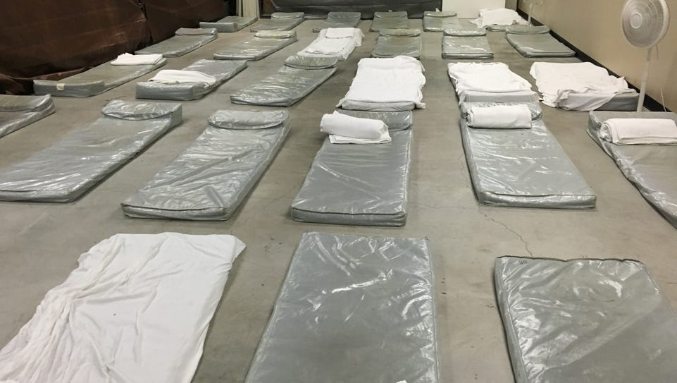 Temporary beds in the back of the Volunteers of America