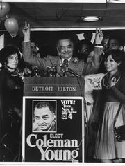 Detroit Mayor Coleman Young celebrates a November 1973 election victory in the Detroit Hilton.