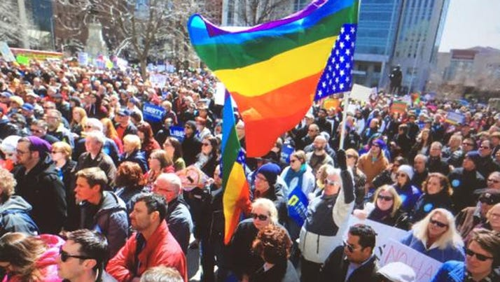 Several thousand demonstrators gathered in Downtown