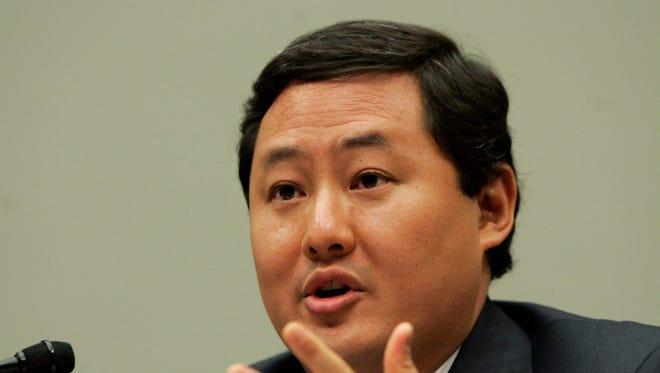 John Yoo, a law professor at the University of California at Berkeley, testifies on Capitol Hill in Washington in 2008.