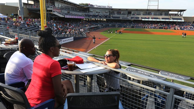 The Band Box restaurant and bar at the Nashville Sounds ballgame on Saturday, July 18, 2015 in Nashville, Tenn. The bar area overlooks right field at First Tennessee Park.