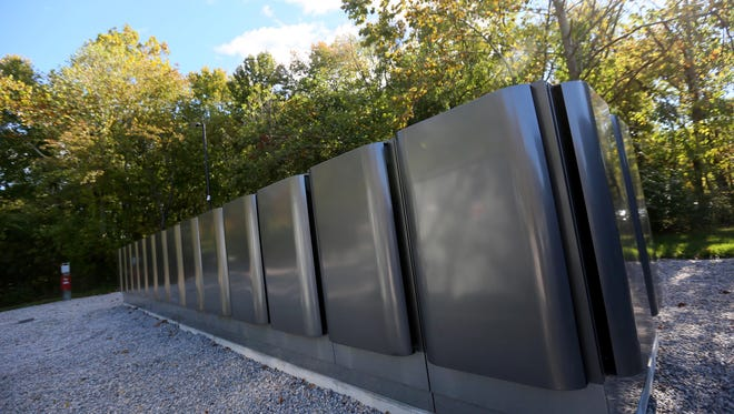 Bloom Energy Fuel cell boxes on JPMorgan's campus in Stanton.