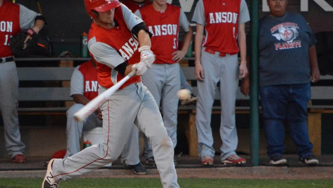 Anson's Brehnen Mitchell hits a ball during the fifth inning of the Tigers' 7-5 win over Miles in a one-game bi-district playoff Friday at McMurry's Walt Driggers Field.