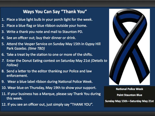 Ways to say thank you during National Police Week in