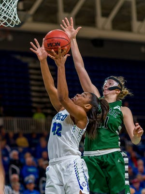 Although she's just 5-foot-10 and only a freshman, Tytionia Adderly has been a rebounding beast for FGCU.