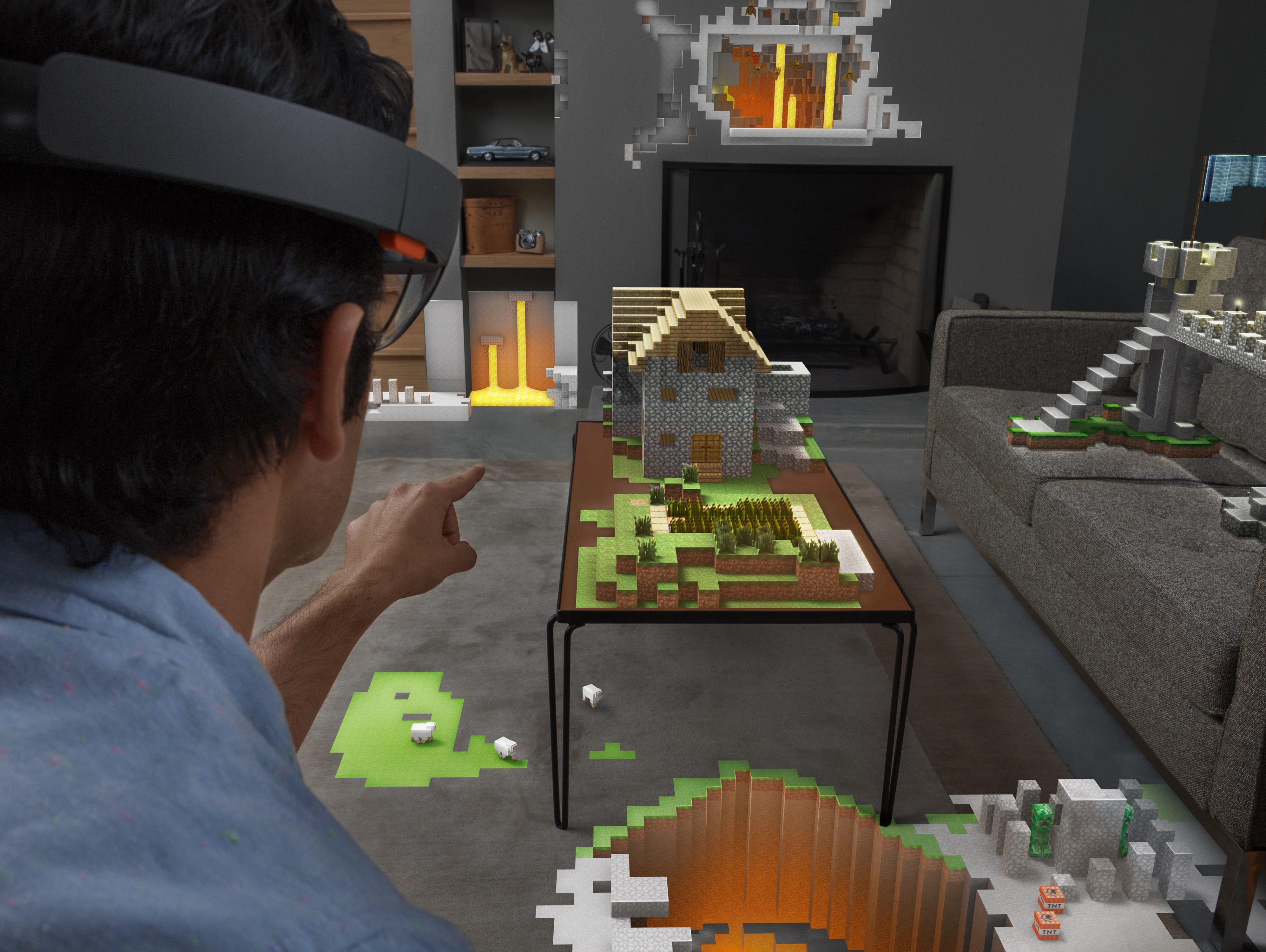 Using holographic technology to play Minecraft.