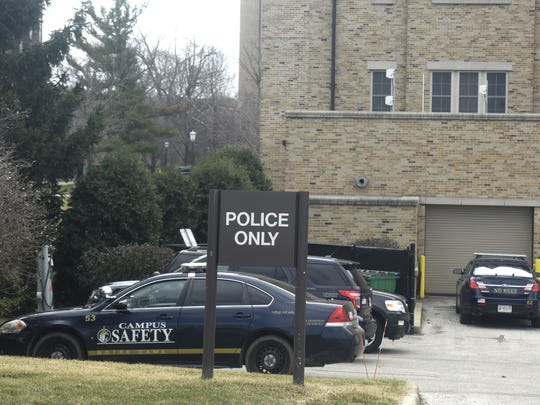 Notre Dame police vehicles parked behind Hammes Mowbray Hall at the University of Notre Dame on March 15, 2016.