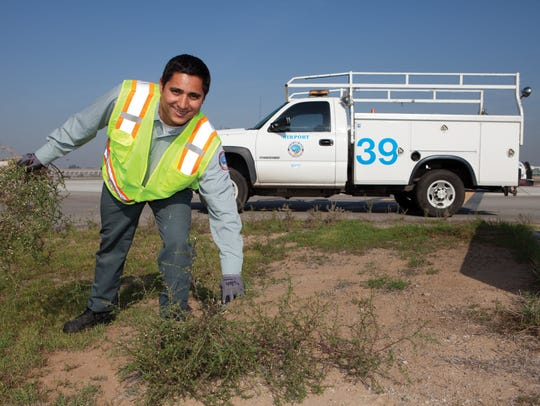 At Long Beach Airport, maintenance employee Omar Dubon