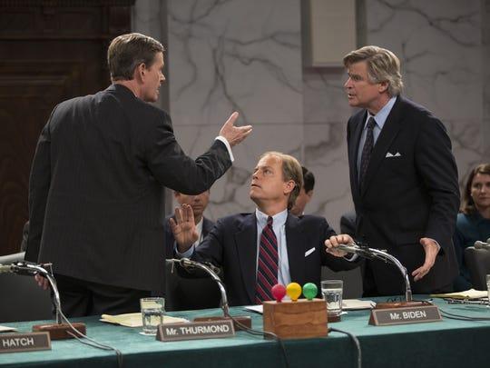 """Dylan Baker (Sen. Orrin Hatch), Greg  Kinnear (Sen. Joe Biden) and Treat Williams (Sen. Ed Kennedy) in a scene from HBO's """"Confirmation."""""""