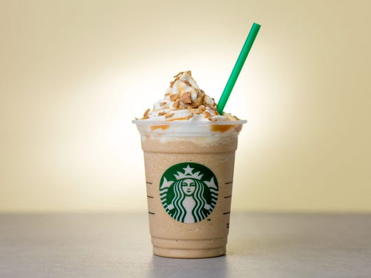 The new Caramel Waffle Cone Frappuccino at Starbucks.