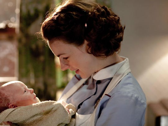 """The PBS television series """"Call the Midwife,"""" stars Jessica Raine as Jenny Lee. The show based on the best-selling memoirs of the late Jennifer Worth, tells colorful stories of midwifery and families in London's East End in the 1950s. (Gannett, Laurence Cendrowicz/Neal Street Productions/File)  ORG XMIT: GANNETT [Via MerlinFTP Drop]"""