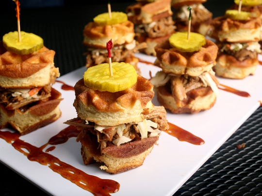 Tiny chicken and waffle appetizers by Darnell Ferguson