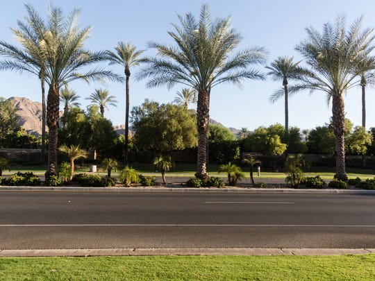 A palm tree filled median divides Highway 111 in Indian Wells, Sept. 2, 2016.  The median is one of several projects that members of the Coachella Valley Association of Governments will be examining in October when they discuss whether regional transportation dollars were improperly used by Indian Wells.