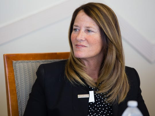 Wendy Jonathan attends the Desert Sands Unified candidate interview session with the Desert Sun Editorial Board, Sept. 13, 2016.