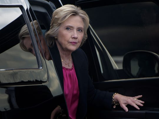 Democratic presidential nominee Hillary Clinton arrives