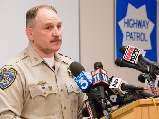 California Highway Patrol Chief Jim Abele speaks at a press conference following the collision of a tour bus and big rig truck which killed 13 people Sunday morning, Oct. 23, 2016.