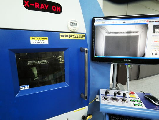 Samsung batteries are x-rayed in Gumi, South Korea.