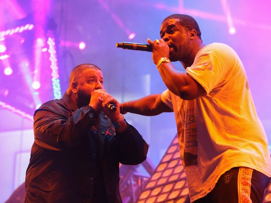 Ferg (right) is seen performing with DJ Khaled at the 2017 Coachella Valley Music and Arts Festival.