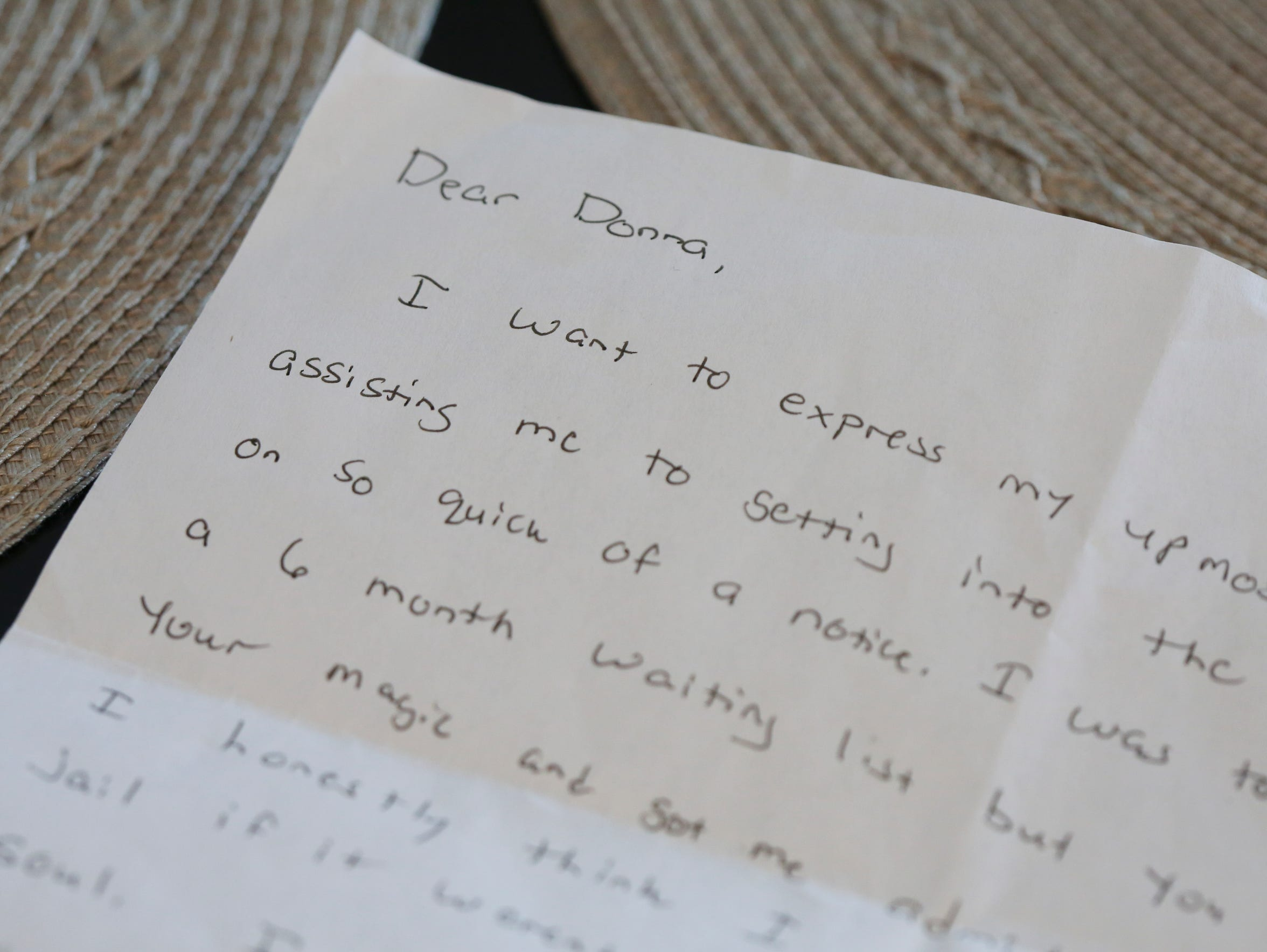 Karl Cooley and Brenda Cooley keep a letter written