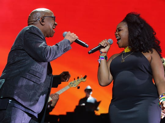 Apr 23, 2017; Indio, CA, USA; Lebo M. sings during Hans Zimmer's performance during the Coachella Valley Music and Arts Festival at Empire Polo Club. Mandatory Credit: Zoe Meyers/The Desert Sun via USA TODAY NETWORK