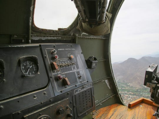"A view from inside a Boeing B-17 ""Flying Fortress"" as it flew over Palm Springs, Calif., Monday, April 24, 2017.  The plane, the Madras Maiden, is one of only 12 B-17 bombers that remains operational."