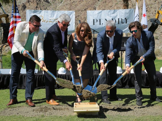 La Quinta Mayor Linda Evans breaks ground with Montage International and Pendry Hotels developers for La Quinta's Silverrock Resort development project, Monday, May 1, 2017.