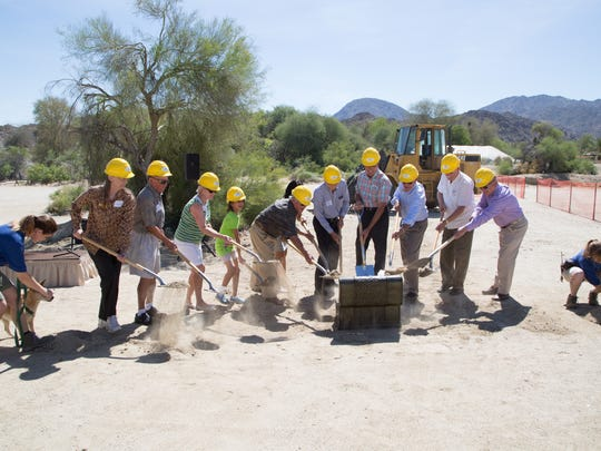 A groundbreaking ceremony is held for a new admissions entry plaza at The Living Desert in Palm Desert, Calif., Wednesday, May 3, 2017.