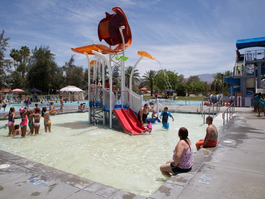 Kids and families play at the Palm Desert Aquatic Center